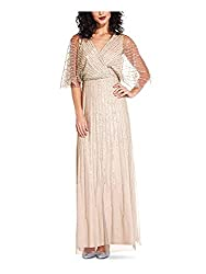 professional Adrianna Papell Ladies V-neck Sequin Dress Blush 8