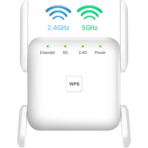 WiFi Extender, 1200Mbps WiFi Booster, WPS Setup WiFi Extenders Signal Booster for Home, 2.4G 5G Dual Bands WiFi Repeater 4 Antennas 360° Full Coverage WiFi Range Extender