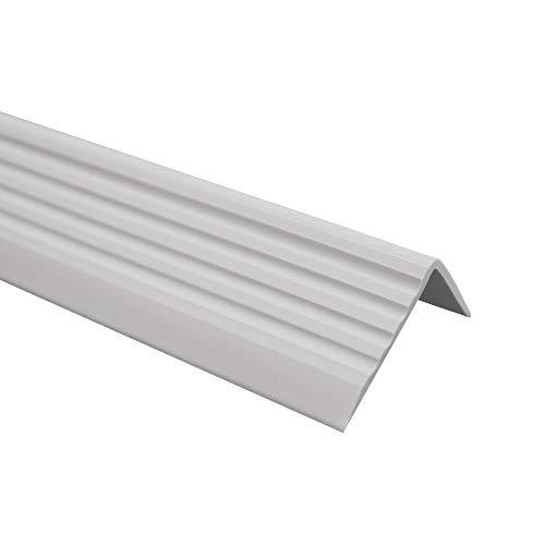 Treppenkantenprofil Selbstklebend PVC Kunststoff Antirutsch-Profil Winkelprofil 40x25, Grau, 80cm