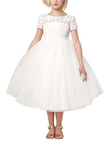 TiaoBug Mädchen Kinder Kleid Tüll Schichten Hochzeit Festzug Kleidung Blumenmädchen Kleider Festlich 92-140 Weiß 140