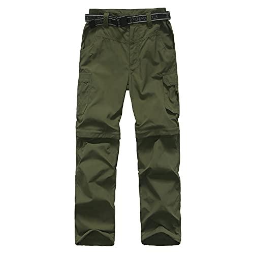 JOMLUN Boy's Casual Quick Dry Outdoor Pants Hiking Climbing Convertible Trouser Kids' Cargo Pants Army Green