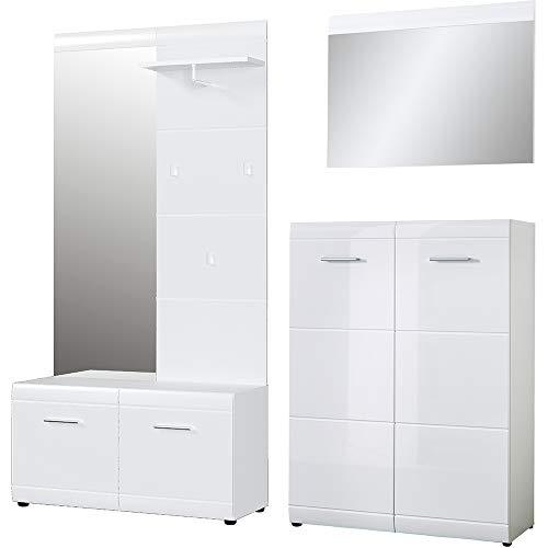 Preisvergleich Produktbild Germania 3-tlg. Garderoben-Set 8553-84,  bestehend aus Garderobe,  Schuhschrank und Spiegel,  in Weiß