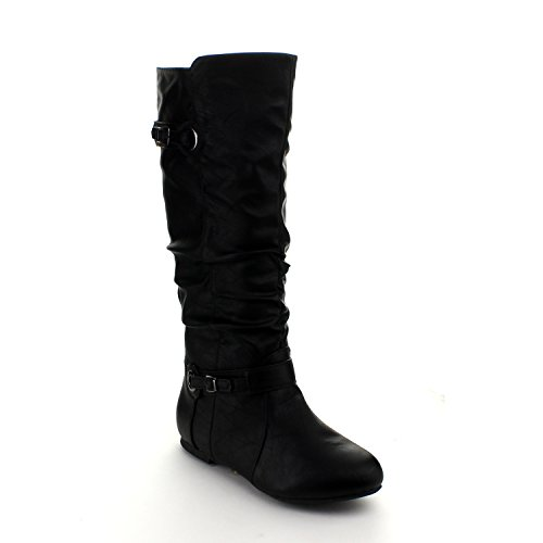 Mango 21 Womens Quilted Knee High Buckle Riding Boots Black 6.5