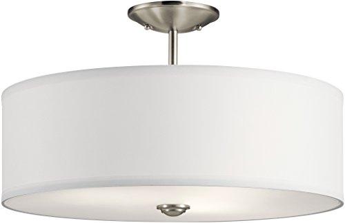 Kichler 43692NI Shailene Semi Flush, 3-Light 225 Total Watts, Brushed Nickel