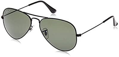 RB3025 Aviator Classic Polarized Sunglasses, Black/Green Polarized, 62 mm