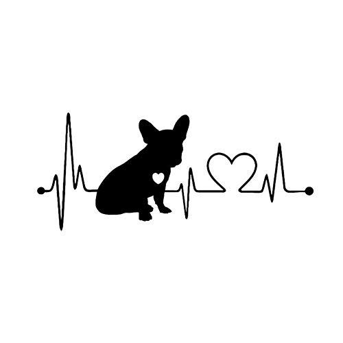 Oce180anYLV Französische Bulldogge Herzschlag Auto Stoßstange Fenster Aufkleber Reflektierende Dekorative Aufkleber - Schwarz