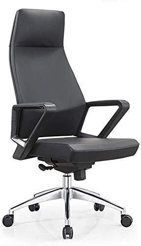 WLD Bürostuhl Comforatble Chefsessel Bürodrehstuhl-Pu-Leder Ergonomischer Computer-Schreibtisch-Stuhl Höhenverstellbar Drehen 360 Grad Zghe,Schwarz,120X50X70Cm