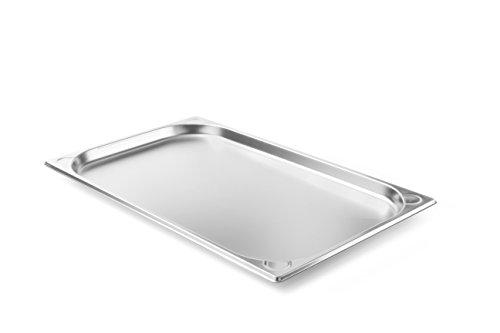 Hendi Gastronormbehälter, Temperaturbeständig von -40° bis 300°C, Heissluftöfen-Kühl- und Tiefkühlschränken-Chafing Dishes-Bain Marie, Stapelbar, 2,6L, GN 1/1, 530x325x(H)20mm, Edelstahl, 806104