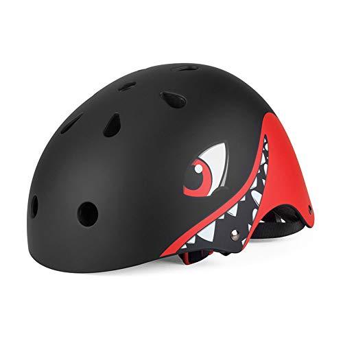 Kinderhelm, für 2 Jahre - 12 Jahre alt Leichter Fahrradhelm Kinder Cartoon Hai 3D Form Helm für Radfahren Roller Inliner Skates Rollschuhlaufen und Outdoor Aktivitäten,Schwarz