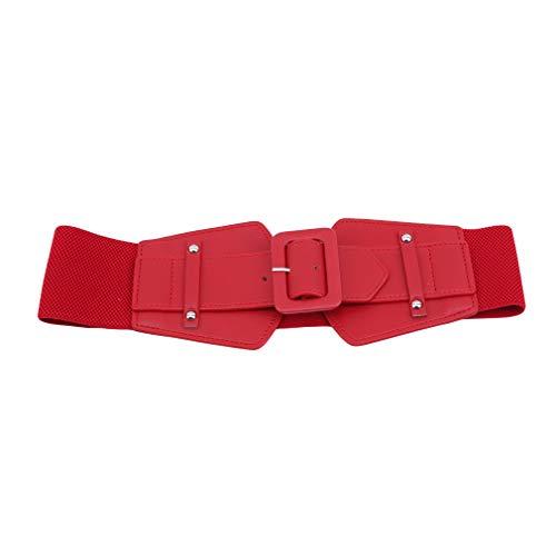 Bayetss Women's Skinny Dress Belt Elastic Waist Belt Party Prom Decoration Accessories,Red