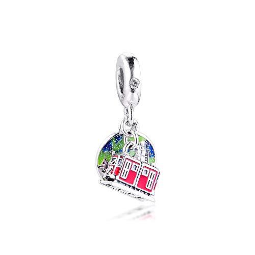 LILANG Pandora 925 Schmuck Armband Natural Fit Sterling Silber Perlen Hong Kong Peak Tram Dangle Charms Machen ganze geeignet für Frauen DIY Geschenk