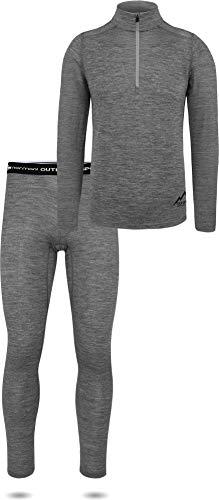 Herren Premium Unterwäsche-Set Garnitur 100% Merinowolle Pullover mit YKK-Reißverschluss und Thermohose (Unterhemd und Unterhose) Thermounterwäsche Ski-Funktionsunterwäsche Farbe Grau Größe L/52