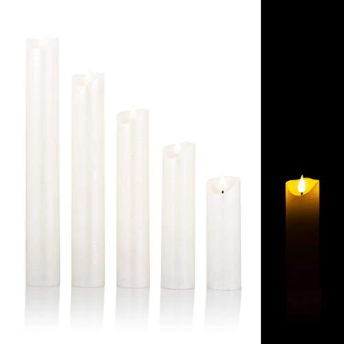 5 LED Kerzen mit Timerfunktion XXL im Set - Täuschend echte Flamme (Perlmutt)