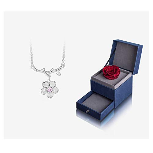 NYKK Necklace Cherry Blossom Necklace Wild Silver Necklace Japan and South Korea Clavicle Chain Necklace Female Jewelry 925 Silver Simple Pendant (Color : C)