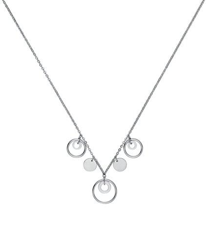CERANITY 907-041.B Damen-Halskette mit Anhänger Motiv Kreise, Edelstahl, Keramik, Weiß, 45 cm