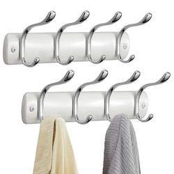 mDesign – Perchero metálico de pared – Colgador de pared con 8 ganchos – Perchero para colgar ropa, accesorios y toallas fabricado con acero – Color: blanco perla y plateado   Paquete de 2