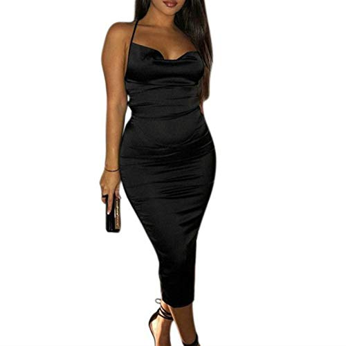 JUMISEE Women Neon Satin Sexy Bodycon Elegant Backless Long Midi Dress for Cocktail Party Clubwear (Black,Small)