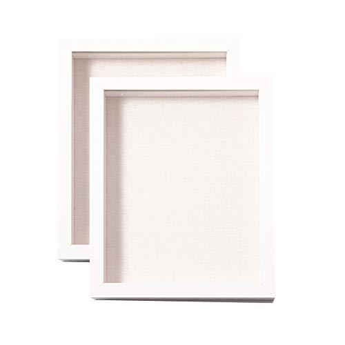 Muzilife 3D Bilderrahmen zum Befüllen 2 Stücke 20x25cm Tiefe Box Objektrahmen mit Glasscheibe Weiß