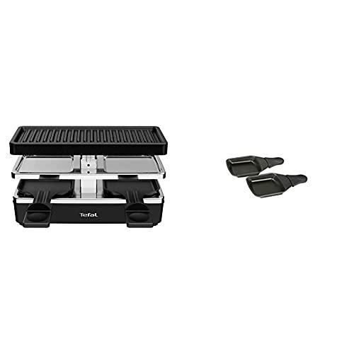 Tefal RE2308 Plug & Share Raclette   400 Watt   2 Pfännchen + Grillplatte   Ein-/Ausschalter   Antihaftbeschichtung & XA400202 Raclette-Pfännchen mit Antihaftschicht, 2 Stück