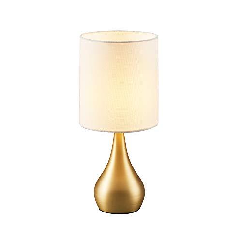 Versanora - Sarah Metal Table Lamp with Touch Light, Cream Fabric Shade, Polish Brass Finish