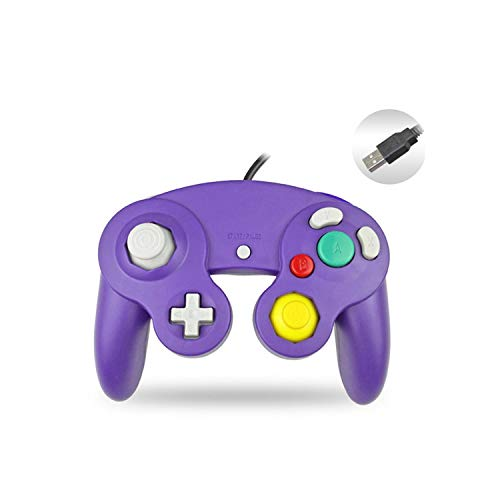 Android Game Controller para Android Tv | PC Controlador con cable USB Joypad Joystick para Nintendo Gamepads para NGC GC para MAC Computer Gamepad para Gamecube-Purple-
