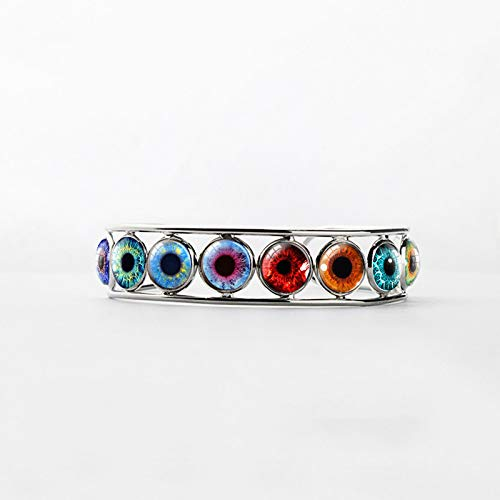 New Arrival Vintage Colorful Dragon Eye Patterns Glass Dome Bangles Beauty Cat Eyes Patterns Handmade Gifts Jewelry Bangle