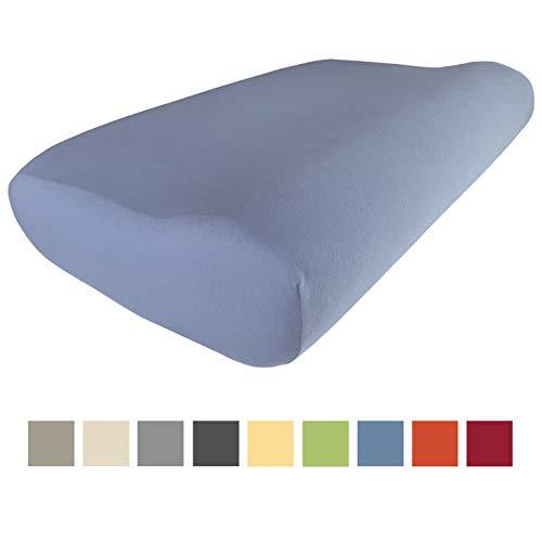 Edda Lux Bezug für PILLOWISE Kissen | 55 x 35 cm | in vielen Farben | 100% Baumwolle | Pink | Orange | Green | Blue | Red | Purple | Hochwertiger Jersey-Kissenbezug | Farbton: Jeansblau