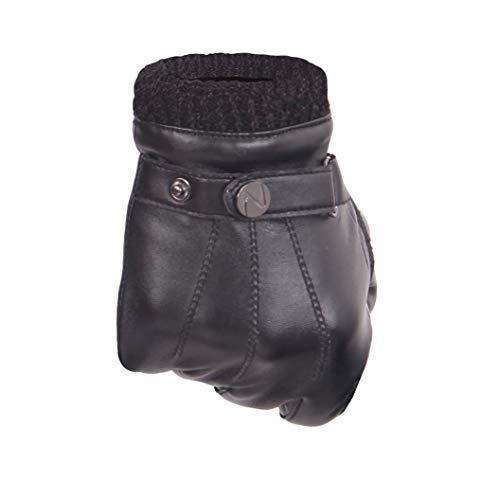 Nappaglo Herren PU Lederhandschuhe - Touchscreen Handschuhe Mit Langen Fleecefutter Winter Fahren schwarz Gr.M