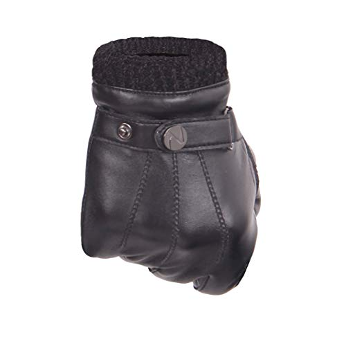Touchscreen PU Leather Glove Men - Christmas Warm Winter Driving/Fleece Lining