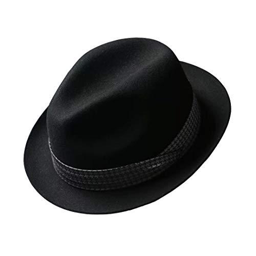 MINNUO 中折れハット ウールフェルト 56-62cm頭周り 千鳥格リボン飾り メンズ 上品 紳士帽子 (ブラック, 頭...