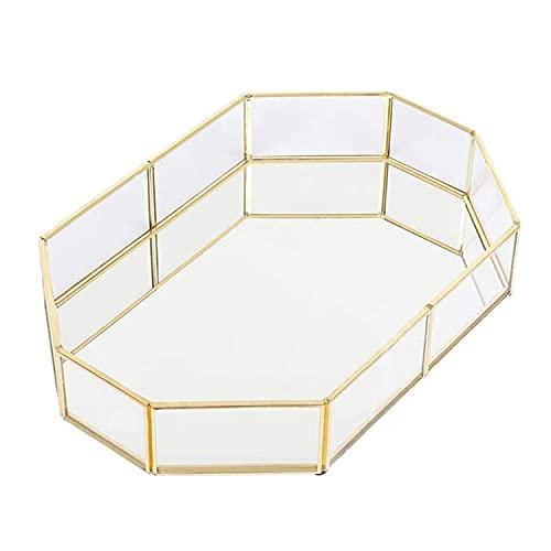 TINGCHAO rectángulo Octogonal Borde de latón Retro Placa de Vidrio Transparente tocador Pantalla Decorativa cosméticos Organizador de Escritorio para Dormitorio,A