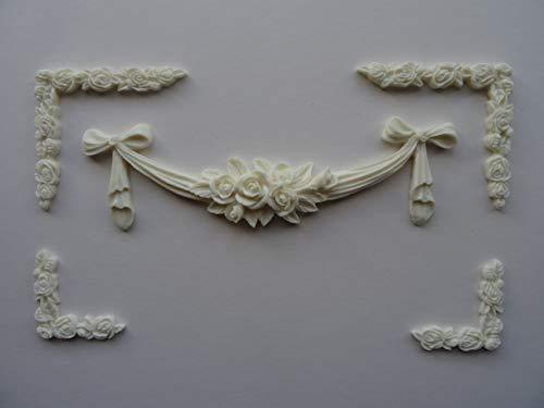 Dekorative Center & Ecken X 4Aufnäher Shabby Chic Möbel Zierleiste o53a (Off Weiß)