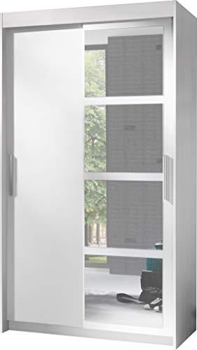 FurnitureByJDM - Moderne garderobekast 2 schuifdeuren - NERO - met spiegel. Breedte: 120cm Hoogte: 216cm Diepte: 60cm - (Wit)