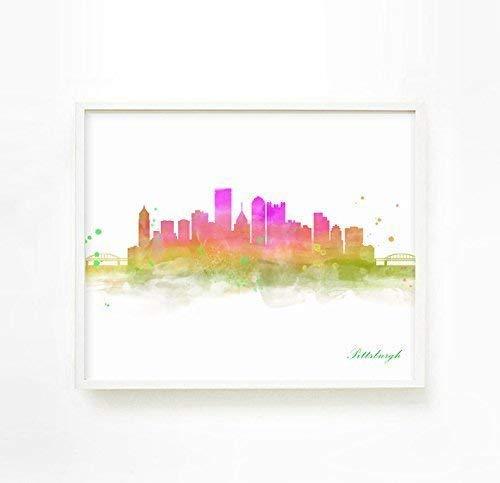 City Skyline Poster, City Skyline Wall Art,Pittsburgh Skyline Picture, City Skyline Painting, Pittsburgh Wall Art Poster Decor, Unframed Print
