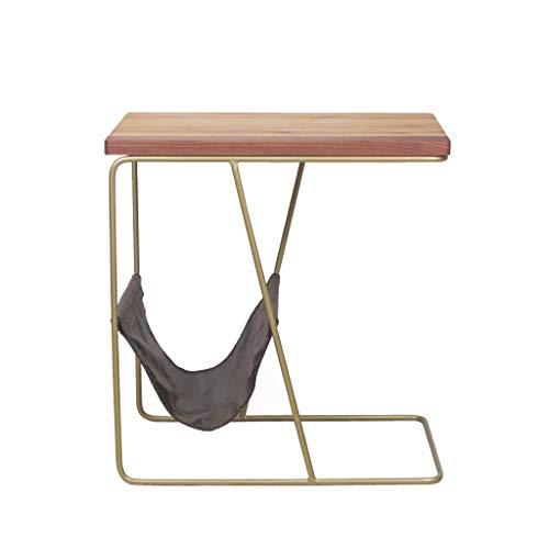 NYDZ armoires de Chevet, Tables Salon canapés latéraux en Bois Massif Maison forgé Tables Fer + casiers Table de Chevet
