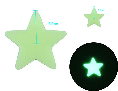 HoneyToys 200PCS 1.2 Luminous Stars Glow in the Dark Fluorescent Noctilucent Plastic Wall Stickers Decals for Home Ceiling Wall Baby Kids Bedroom New yellow