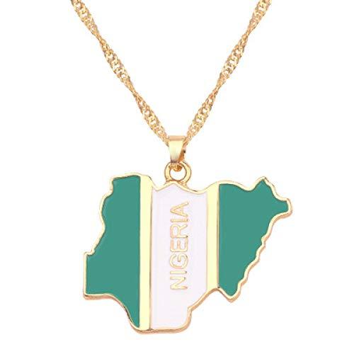 TFOOD Kaart Ketting Voor Vrouwen, Nigeria Vlag Kaart Hanger Gouden Ketting Bedel Patriottische Etnische Sieraden Voor Moeder Mannen Gift Accessoires