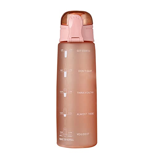 Botella de Agua de 900 ml Tapa de Rebote Botella de Agua con Escala y Boquilla de succión Naranja mate10 * 3'