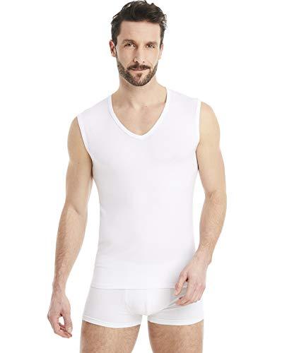 FINN Business Herren Unterhemd Ärmellos mit V-Ausschnitt Micro-Faser Tank-Top Männer Weiß Weiss M