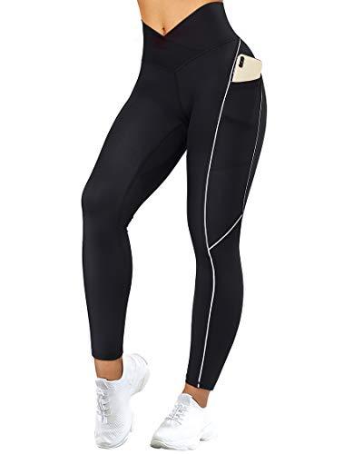 SUUKSESS Women Reflective High Waisted Running Leggings with Pockets Cross Waist Yoga Pants (Black, M)