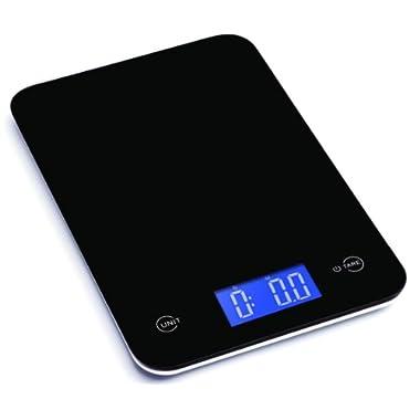 Ozeri Touch Professional Digital Kitchen Scale in Tempered Glass, 18-Pound, Elegant Black
