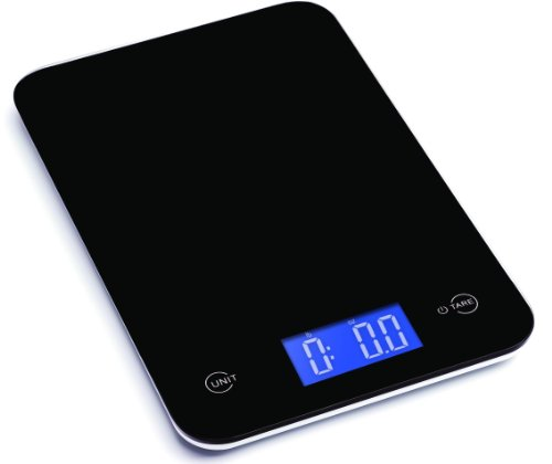 Ozeri Touch Professional Digital Kitchen Scale in Tempered Glass, 18-Pound, Elegant Black