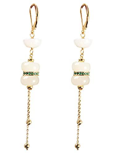 CHXISHOP 925 Pendientes de Lotus Jade Hetian Jade Chapado en Oro 925, aretes de tasel de Magnolia Azul Quemado Style 1
