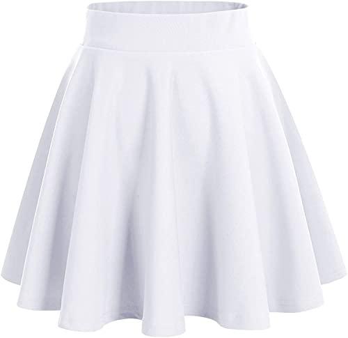 DRESSTELLS Falda Mujer Mini Corto Elástica Plisada Básica Multifuncional White L