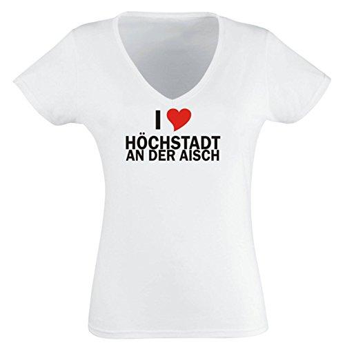Black Dragon - T-Shirt - Damen V-Ausschnitt mit Städtenamen - i Love Höchstadt an der Aisch am Main - Damen - weiß XL - Fasching Party Geschenk Funshirt