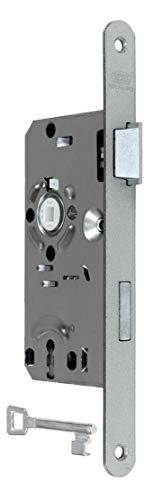 BKS Standard Zimmertürschloss/Türschloss mit Metall Falle und Riegel, mit Buntbart 55/72/8, Stulp: 20 x 235mm abgerundet, DIN Rechts incl. SN-TEC® Montageset
