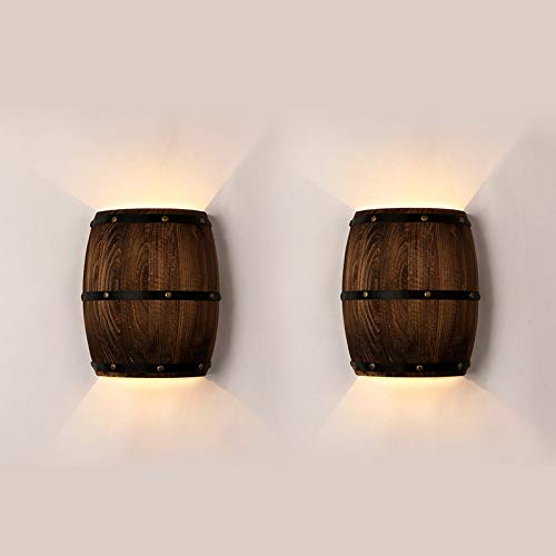 Newrays Antique 2 Pack Wood Wine Barrel Wall Sconce Lighting Fixture Up and Down Indoor Wall Lamps for Bar Area Steampunk Theme