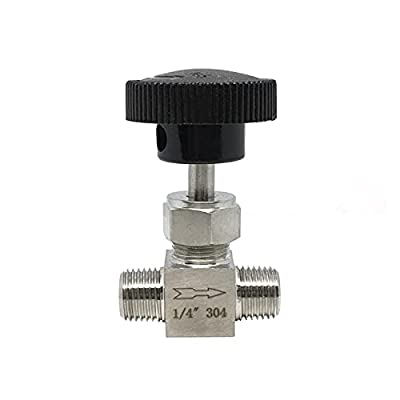 """BAIJIAXIUSHANG-TIES Valves, Fittings Adjustable Needle Valve 1/8 1/4 3/8 1/2 Inch Male Thread Stainless Steel 304 Flow Control Crane Straight Needle Valve (Specification : 1/4"""") by BAIJIAXIUSHANG-US"""