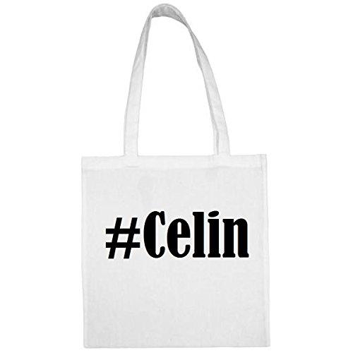 Tasche #Celin Größe 38x42 Farbe Weiss Druck Schwarz