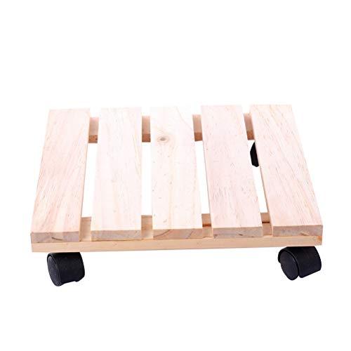 WINOMO 植木鉢台 鉢置台 木製 キャスター台 正方形 花台 キャスター付き プランター 台車 25cm